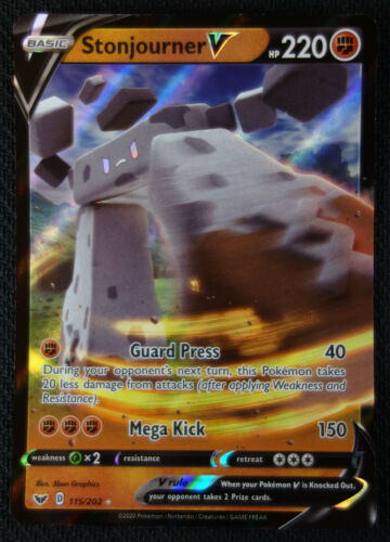 Pokemon Card Stonjourner V 115//202 Sword /& Shield NM//M