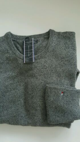 Wool Xl Tommy Hilfiger Men`s Grey Neck Crew Jumper Size For In qT5H586rw