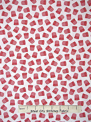 Thimble Sewing Themed Toss on White RJR #2137 Red Yard Sew Theme Fabric