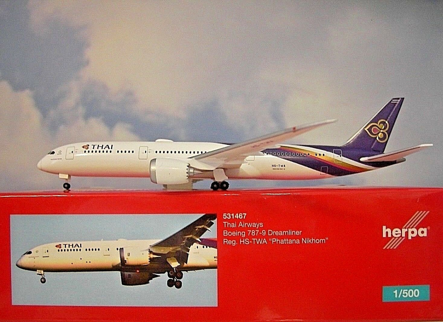 Herpa Wings 1 500  Boeing Boeing Boeing 787-9  Thai Airways HS-TWA  531467  Modellairport 500 de7061