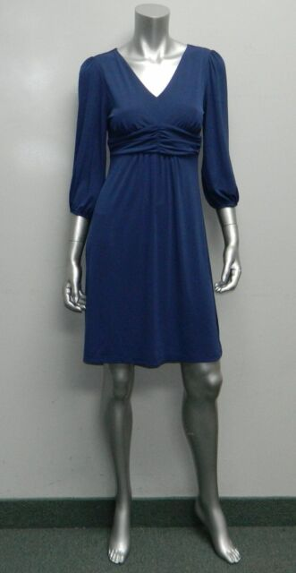 ea22605435c2 NY COLLECTION PETITE NWT Navy Blue V-Neck 3/4 Sleeve Elastic Cuffs Dress