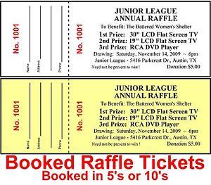 2 000 raffle tickets drawing custom printed stapled booked wstub