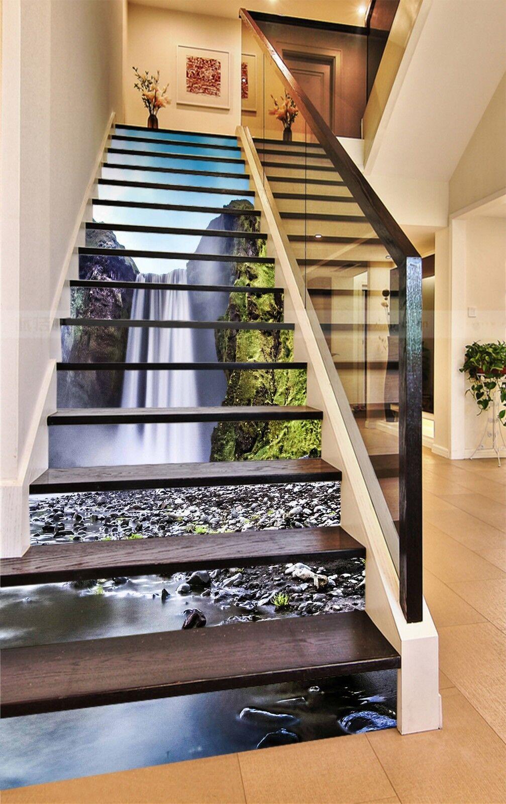 3D Waterfall 25 Stair Risers Decoration Photo Mural Vinyl Decal Wallpaper UK
