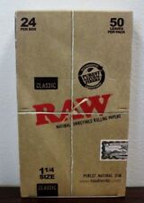 Raw 1.25 (1 1/4) Classic Hemp Rolling Paper Full Box~24 pk~New Box