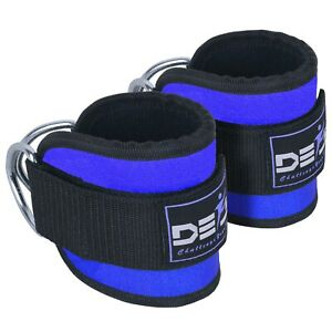 ANKLE-D-RING-STRAPS-Thigh-Leg-Pulley-Lifting-Attachment-Cable-Padded-Gym-Blue