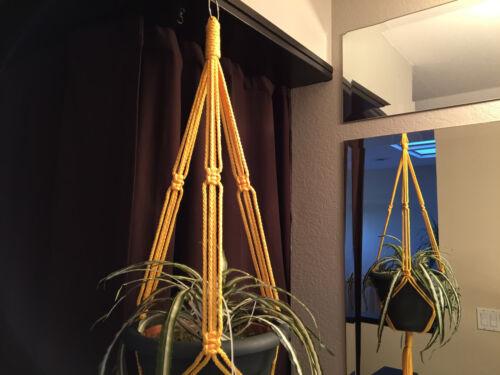 "Macrame Plant Hanger 30/"" 40/"" 50/"" 60/"" Sunshine Yellow and Chocolate Brown"