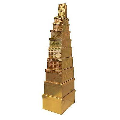 10 Gold Nest Holographic Gift Boxes Xmas Birthday Decor Storage Party Bag Wrap