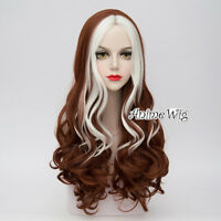 65CM Long Curly Lolita Anime White Mixed Dark Brown Cosplay Hair Wig + Free Cap