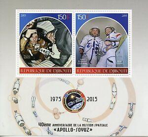 Djibouti 2015 MNH Apollo Soyuz Space Mission 40th Anniv 2v M/S Leonov Stamps