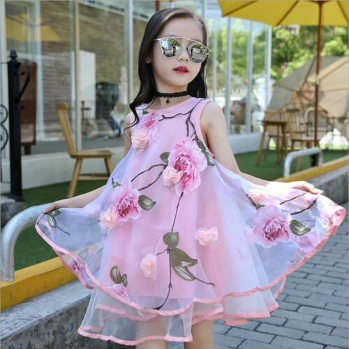 Kids Baby Girls Birthday Wedding Pageant Party Skirt Princess Tutu Flower Dress