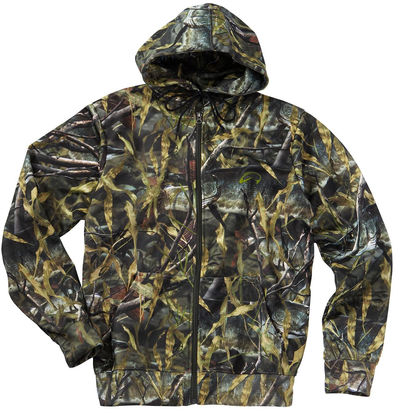 Fishouflage Full Zip Performance Fishing Hoodie - Musky Camo Pattern - Size M