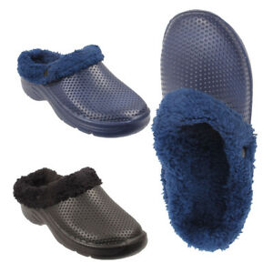 Mens-Fur-Lined-Cosy-Clogs-Slip-On-Winter-Sandals-Garden-Shoes-Slippers-UK-Sizes