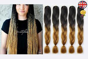 5 black brown blonde ombre two tone dip dye kanekalon