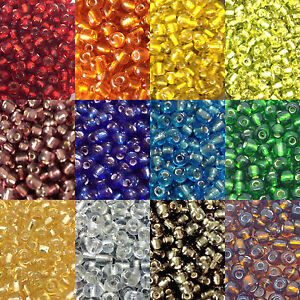 50g-glass-seed-beads-Silver-Lined-size-6-0-approx-4mm-choice-of-colours