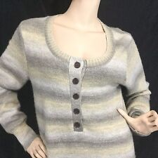 Natural Reflections 1/2 Button Light Brown long Sleeved  Sweater Sz L Striped