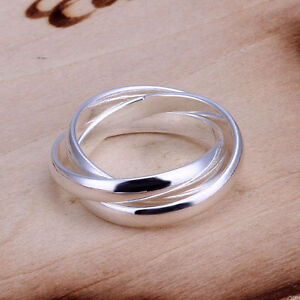 925 Silver Plt Triple Interwoven Band Infinity Ring Statement Three Thumb a