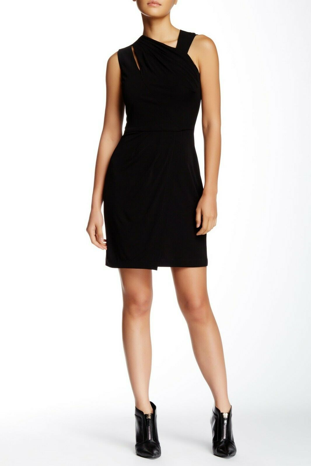 395 Cut25 by Yigal Azrouel Matte Jersey Dress Ruched Assymetrical LBD 12 L