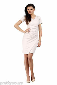 Women-039-s-Wrap-Summer-Ladies-Dress-V-Neck-Short-Sleeves-Size-8-10-12-14-S-M-L-XL