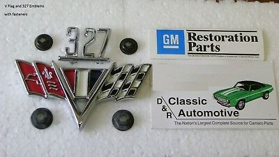 327 Fender Emblems 12pc Set w//retainers Camaro Chevelle Nova kit Chevy V-Flags