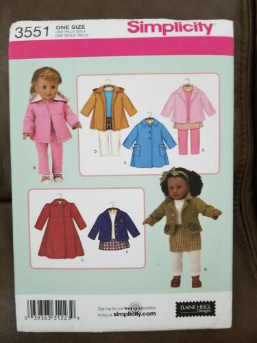 """* Simplicity # 3551 Coats Jackets Plus Pattern For Your 18/"""" Doll"""