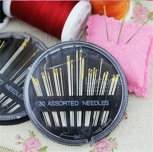 30x Assorted Simple Self Threader Threading Sewing Needles Hand Sewing Tool