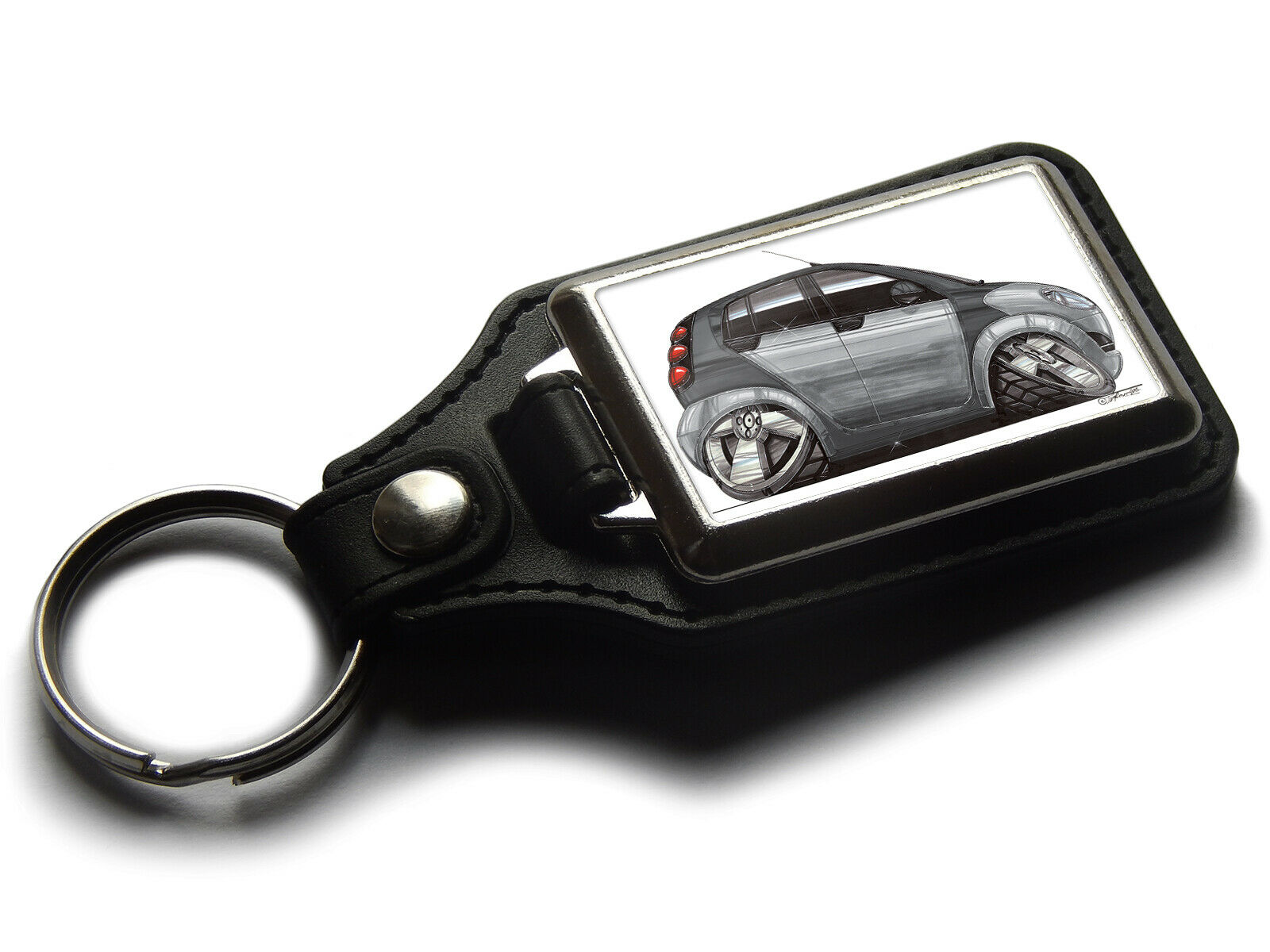Koolart Cartoon Car Smart ForFour Leather and Chrome Keyring