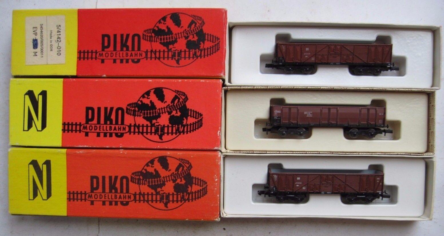 Piko 5 4142-01 Stahl + 5 4143-01 Holz DR Hochbordwagen, offen