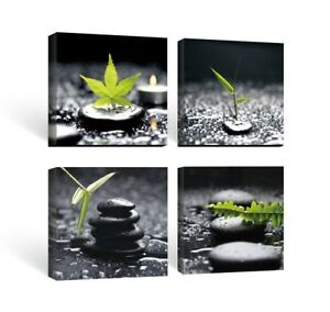 Framed Zen Stone Green Leaf Wall Art Picture Canvas Prints Spa
