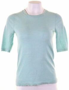 BANANA-REPUBLIC-Pour-Femme-Tricot-Top-a-manches-courtes-taille-12-MEDIUM-Turquoise-Laine-IK04