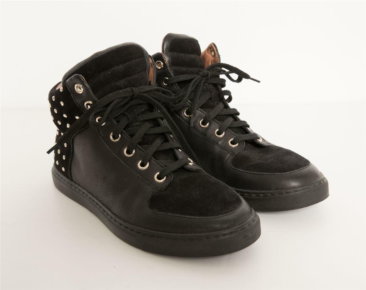 MULBERRY Donna Nero Pelle + Suede Gold Studded Lace-Up Lace-Up Lace-Up Hi-Top  7-37 96feac