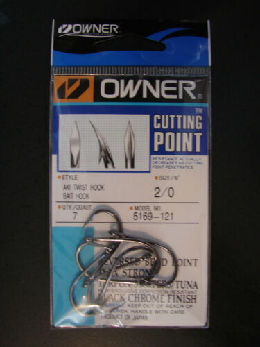 Owner Cutting Point size 2//0 Aki Twist Hook Black Chrome 5169-121 3x 4x Strong