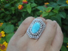Sterling Silver SALLY C TREASURES Turquoise Crystal COCKTAIL Ring 6.75-7.0 BIG