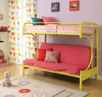 Futon Bunk Bed Twin Over Full Kids Bedroom Couch Space Saving Yellow Metal Frame