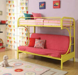 futon bunk bed twin over full kids bedroom couch space saving yellow metal frame ebay. Black Bedroom Furniture Sets. Home Design Ideas