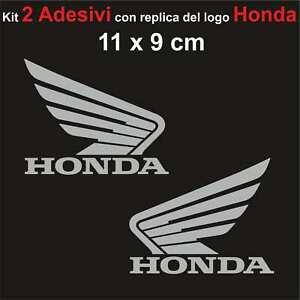 Kit-2-Adesivi-Honda-Moto-Stickers-Adesivo-11-x-9-cm-decalcomania-ARGENTO