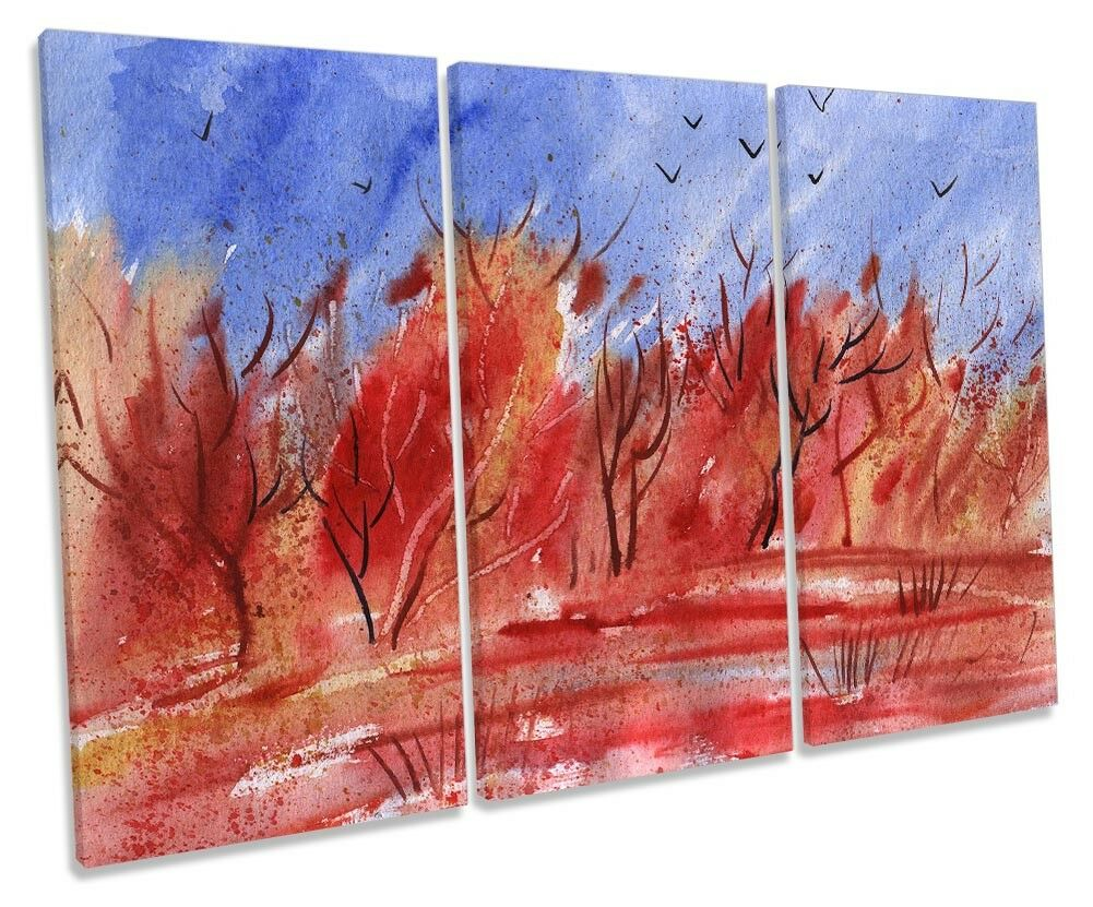 rot Landscape Forest Repro Framed TREBLE CANVAS PRINT Wall Art