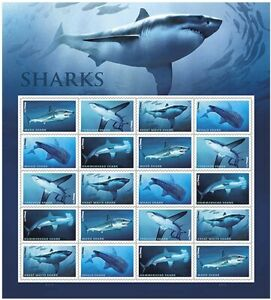 Sharks-Sheet-of-20-Forever-Stamps-Scott-5227