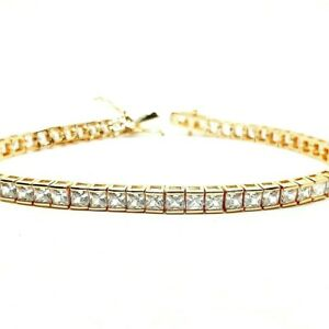 Yellow-gold-finish-created-diamond-princess-cut-Tennis-bracelet-valentines-offer