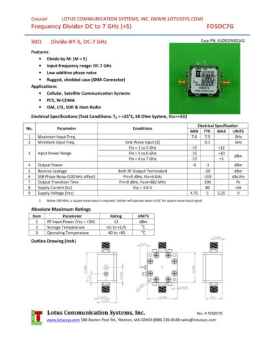 DC to 7 GHz FD5DC7G Frequency Divider//Prescaler Divide by 5
