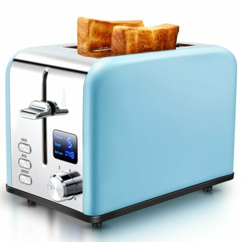 AEVO 2-Slice Toaster Extra-Wide Slots with Digital Time Display Stainless Steel