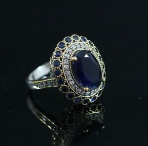 925-Sterling-Silver-Handmade-Antique-Turkish-Sapphire-Ladies-Ring-Size-6-9