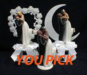 Image Is Loading Bald African American Groom Wedding Cake Topper PICK