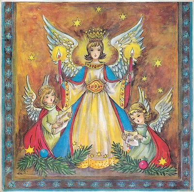 """Adventskalender /""""Engel mit Kerze/"""" 30 x 30 cm mit Goldglimmer Lore Hummel"""