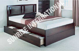 Furniture Wooden Indian King Size Double Bed with 2 storage