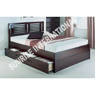 Furniture -  Wooden Indian King Size Double Bed With 2 Storage Drawers !!