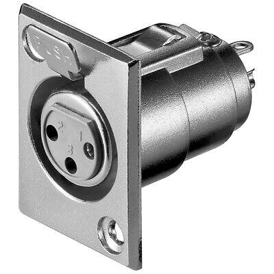 XLR-Einbaustecker 3-polig ohne Verriegelung mit versilberten Kontakten