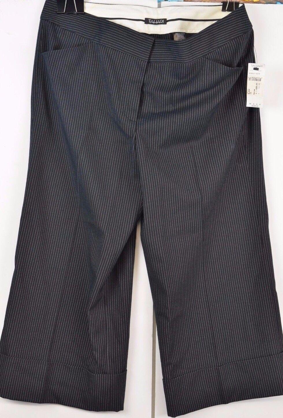 Tahari Cropped Capri Pants Pin Striped Size 10 New Retail  228 Flat Front Career
