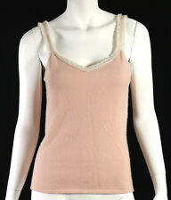 CHANEL 03A Powder Pink Ribbed Cashmere Knit Sleeveless Tank Top 42