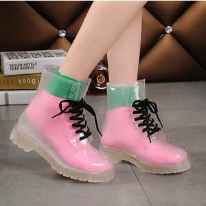 Women Jelly Flat Transparent Clear Rubber Rain Boots Lace Up Ankle ...