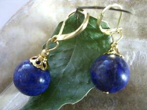 14-mm-Designer-Ohrringe-Ohrhaenger-Lapis-Lazuli-goldfarbenen-Brisuren